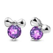 Women 925 Sterling Silver Purple Crystal Cute Mickey Stud Earrings