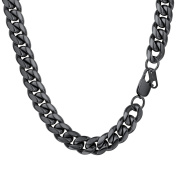 PROSTEEL 10MM Curb Cuban Chain Necklace for Mens Jewellery, 18/20/22/24/26/28/30Inch, 316L Stainless Steel/Gold Plated/Black Colour-