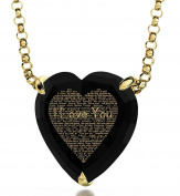 Gold Plated Heart Necklace 120 Languages I Love You 24ct Gold Inscribed on Cubic Zirconia, 46cm Gold Filled