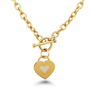 Gold Plated Stainless Steel Heart Icon Engraved Heart Tag Toggle Bracelet and Necklace