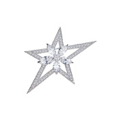 Woman Brooch Star White Crystal Element Cubic Zirconia CRY E519 J - Blue Pearls