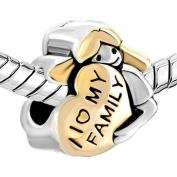 Bling Stars Heart Baby Girl I Love My Family Charm Beads Fit Pandora Charms Bracelet