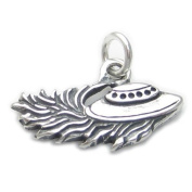 UFO 2D Spaceship sterling silver charm .925 x 1 Flying Saucer charms DKC12813
