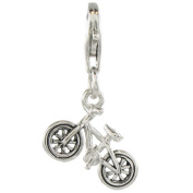 Quiges 925 Sterling Silver 3D Bicycle Clip On Charm Pendant