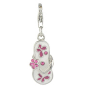 Quiges 925 Sterling Silver Pink Cubic Zirconia and White Pink Enamel Flip Flop Clip On Charm Pendant