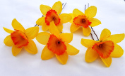 5 Orange & Yellow Daffodil Artificial Flowers Hair Pins
