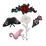 HENGSONG 5Pcs Embroidery Flamingo Flower Butterfly Style Sewing On Patch Badge Bag Hat Jeans Dress Applique Craft