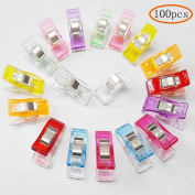 MINGZE 100pcs Plastic Clips for Sewing Clips, Multicolor, 9 Colours, Crafting, Crochet and Knitting, All Purpose Clips for Quilting Binding Clips, Fabric Clips, Paper Clips, Blinder Clips