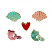 Vikenner 5 Pcs/Set Creative Enamel Brooch Set Cartoon Shell Bridal Pin Mermaid Corsage Love Shawl Clip Women Girls Jewellery