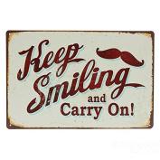 Bazaar Keep Smiling Tin Sign Vintage Metal Plaque Bar Pub Home Wall Decor