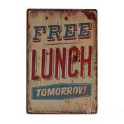 Bazaar Free Lunch Tomorrow Tin Sign Vintage Metal Plaque Poster Bar Pub Home Wall Decor