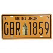 Bazaar Big Ben London Licence Plate Tin Sign Vintage Metal Plaque Poster Bar Pub Home Wall Decor