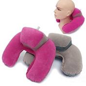 Bazaar Inflatable U Shape Neck Pillow Flocking Home Travel Office Pillow