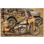 Bazaar 20x30cm US Army World War II Harley Military Motorcycle Sheet Metal Drawing Sign Metal Wall Decor