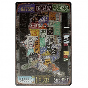 Bazaar USA Map Sign I Love USA Retro Vintage Tin Plaque Bar Pub Wall Decor