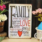 Bazaar Family Love Sheet Metal Drawing Metal Painting Tin Wall Home Poster Sign