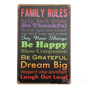 Bazaar Family Rules 2 Retro Metal Painting Sheet Metal Drawing Home Poster Sign Tin Wall Decor