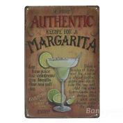 Bazaar Authentic Margarita Tin Sign Vintage Metal Plaque Poster Bar Pub Home Wall Decor