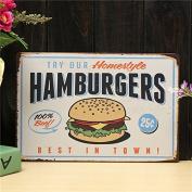 Bazaar Hamburgers Sheet Metal Drawing Retro Metal Painting Pub Club Cafe Poster Sign Tin Decor