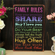 Bazaar Family Rules Retro Metal Painting Sheet Metal Drawing Home Poster Sign Tin Wall Decor