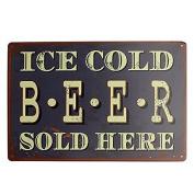 Bazaar Ice Cold Beer Tin Sign Vintage Metal Plaque Tavern Pub Bar Wall Decor