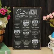 Bazaar Coffee Menu Sheet Metal Drawing Metal Painting Tin Cafe Wall Tavern Poster Sign