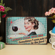 Bazaar Cook With Wine Sheet Metal Drawing Pub Home Wall Canteen Poster Metal Painting Tin Sign