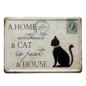 Bazaar Black Cat Tin Sign Stamp Vintage Pub Wall Decor Thanksgiving Day Gift