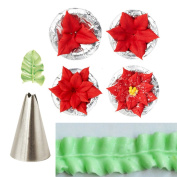 Bazaar 7pcs Leaf Cupcake Decor Stainless Steel Icing Piping Nozzles Set Pastry Tips