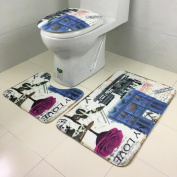 3PCS Bathroom Stickers Set, Indexp Non-Slip Retro Eiffel Tower Pedestal Rug + Lid Toilet Cover + Bath Mat Home Decoration Gift