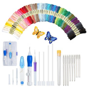 Magic Embroidery Pen Kit, Embroidery Pen Punch Needle Craft Tool Including 50 Colour Threads and 9 Pieces Large-Eye Blunt Needles for Embroidery Threaders