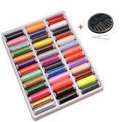 GOOTRADES 39 Assorted Colours Polyester Sewing Thread Spool with Free Needles