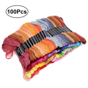 VORCOOL Premium Rainbow Colour Embroidery Floss Soft Cotton Cross Stitch Embroidery Threads Floss Sewing Threads 100 Skeins 8M