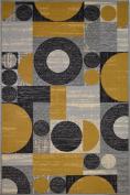 Bandelini Napoli Collection Modern Contemporary Design Rectanagle & Circular Design Rubber-Backed Non-Slip (Non-Skid) Area Rugs | Thin Low Pile Indoor/Outdoor Tan & Grey 0.9m x 1.5m