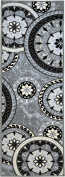 Bandelini Napoli Collection Modern Contemporary Floral Live Rectangular Circular Design Rubber-Backed Non-Slip (Non-Skid) Area Rugs | Thin Low Pile Indoor/Outdoor Grey Runner Rug 0.6m x 2.1m