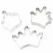 SONG LIN Silver 3 Crowns Stainless Steel Cookie Mould Set