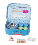 """Moulin Roty Je Fais Des Gateaux """"I Am Baking Pastries!"""" Child Sized Cooking Tools Toy Set in Carry Suitcase"""