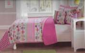 Cupcake Stripe Reversible Full Quilt Mini Set with Bonus Decorative Pillow