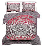 Exclusive Janki Creation Queen Size Ombra Mandala duvet Cover With Pillowcases, Mandala Hippie Quilt Cover, Indian Doona Cover Set, Boho Duvet Cover, Bohemian Mandala Bedspread, Urban Duvet Cover Pink