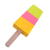 OUNONA Childrens Wooden Play Pretend Food Popsicle Wood Play Food Ice Cream Bar Set