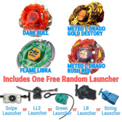 Beyblade Dark Bull, Meteo L Drago Gold Destroy, Meteo L Drago Rush Red, Flame Libra 4 Pack from Metal Fusion, Metal Fury, Metal Master Series + 1 Free Launchers .