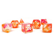 Polyhedral Dice Set - Orange Glacier - 7 Piece PRISTINE Edition - FREE Carrying Bag - Hand Checked Quality