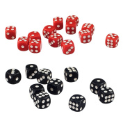 MonkeyJack 100 Pack Opaque D6 Dice 12mm Six Sided Dice for D & D RPG MTG Accessories Black & Red