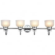 Chloe Lighting Ironclad Industrial-Style 4-Light Chrome Finish Bath Vanity Wall Fixture White Frosted Prismatic Glass, 90cm Wide