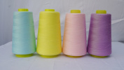 4 x 3000 Yard Light Blue Light Yellow Buff Pink Light Purple Reel 40s 2 402 Tex 27 Tickets Size 120 Spools Polyester PP SP Sewing Thread Hand Machine industrial Embroidery Yarn Quilting Serger Clothes