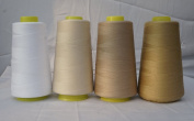 4 x 3000 Yards White Beige Sand Beige Reel 40s 2 402 Tex 27 Tickets Size 120 Spools Polyester PP SP Sewing Thread Hand Machine industrial Embroidery Yarn Quilting Serger Clothes