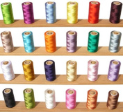 25 Spools Set Rayon Viscose Silk Machine Embroidery Assorted Threads - Bargain Value