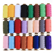 Demiawaking 24Pcs Sewing Threads Mixed Colours Pure Cotton Spools Hand Sewing Thread Embroidery Spool Thread for Sewing Machine