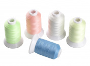 Simthreads 5 Colours Luminous Glow in the Dark Embroidery Machine Thread, 550 Yrds Each