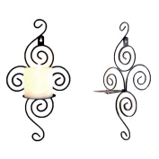 2pcs Wall Candle Sconce,Elegant Swirling Iron Hanging Wall Mounted Candle Holder For Weddings,Events,Home Decorations,Black